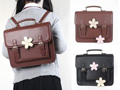 Sakura Japanese Student Uniform PU Leather School Backpack Shoulder Bag 2 Colors #Unbranded #MessengerCrossBody
