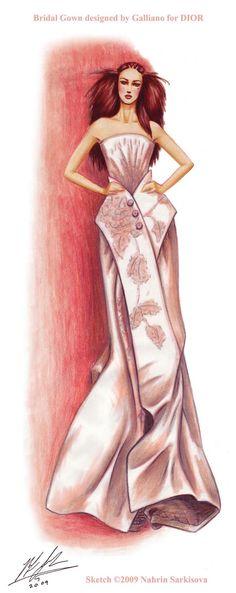 70 Ideas Fashion Sketches Dior John Galliano For 2019 Only Fashion, Pink Fashion, Fashion Prints, Fashion Art, Fashion Design, Illustration Mode, Fashion Illustration Sketches, Fashion Sketches, Fashion Drawings