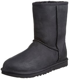 UGG UGG W Classic Short Leather, Damen Halbschaft Schlupfstiefel, Schwarz (BLACK), 42 EU (9.5 Damen UK) - http://on-line-kaufen.de/ugg/42-eu-ugg-ugg-w-classic-short-leather-damen-4