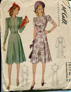 Fantastic 1940s dresses both (McCall 3615). #vintage #sewing patterns