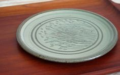 Meadow Plate. Handmade Ceramic Serving Plate in Celadon Green with Botanical Design. Natural Pottery Dinnerware for Home & Entertaining.