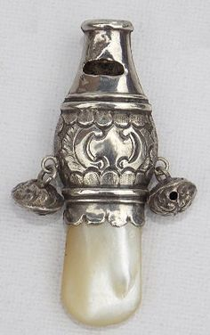 Victorian Sterling Baby Rattle and Whistle