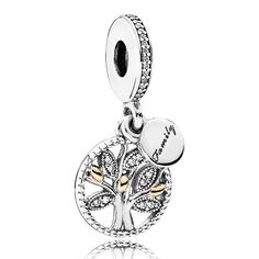 A beautiful representation of how families are connected through many generations, PANDORA's lovely family tree dangle in sterling silver, with stone-encrusted leaves and genuine 14k gold details, is the perfect token of family love.