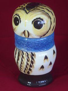 Ceramic owl storage jar by AlecPDavis on Etsy