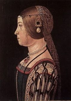 Alessandro Araldi (Italian artist, 1460-1530) Portrait of a Lady. On her hair she is wearing a coazzone and tinzale.