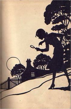 Nancy Drew is a famous 20th century silhouette from one series of books.  That magnifying glass became identified with her, although it was other detectives who were more likely to use one.