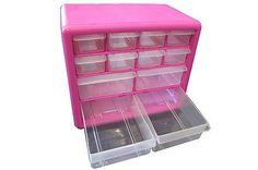 Pink 12 Drawer Plastic Organizer Box, Tools Jewelry Makeup Storage Home Garage Plastic Organizer Box, Organiser Box, Organizer Bins, Plastic Storage, Makeup Storage Home, Pink Crafts, I Believe In Pink, Craft Organization, Organizing