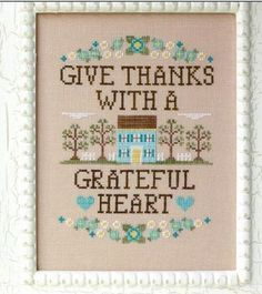 Give Thanks is the title of this cross stitch pattern from Country Cottage Needleworks that is stitched with Gentle Art Sampler threads (Baby Spinach, Pecan Pie) and Weeks Dye Works (Cocoa).