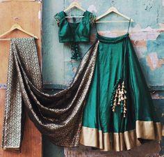 For details / order please dm or Whatsapp on . Half Saree Designs, Choli Designs, Lehenga Designs, Indian Attire, Indian Outfits, Designer Lehnga Choli, Simple Lehenga, Indian Lehenga, Black Lehenga