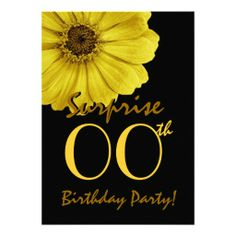 SURPRISE Any Year Birthday Yellow Daisy Personalized Invites