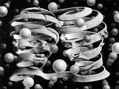 MC Escher Paintings was an artist; created each tessellation with extradorinary math skills. The MC Escher artwork continued to develop with his drawing hands art print. Mc Escher Art, Escher Kunst, Escher Drawings, Art Museum, Drawn Art, Poster Art, Art Sculpture, Vintage Poster, Art History