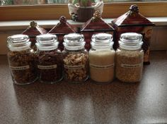 I started using the Large Yankee Candle jars for canisters. They have a fantastic tight seal. Besides you pay $22 a jar why not use them  as well. I plan on using many more jars for Kitchen storage like this. LB