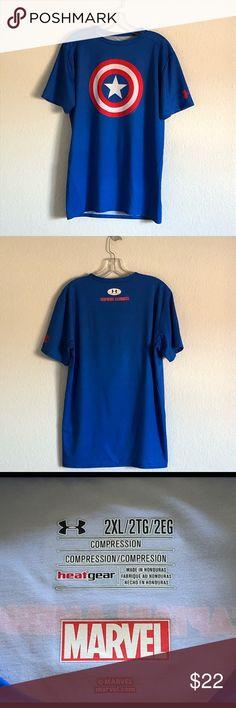 026636301546 Under Armour Captain America Compression Tshirt 2X Compression T-Shirt by  Under Armour. Men's