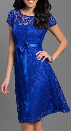 Knee Length Short Sleeve Lace Dress Royal Blue Ribbon Bow