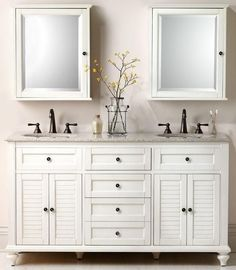2 medicine cabinets--great idea for extra storage instead of just a mirror above the sink (but make the right cabinet open the opposite way).