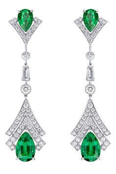 Louis Vuitton, V for Vuitton Collection diamond and emerald earrings. (=)
