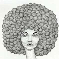 Here's a close up of yesterday's drawing 🌈  #illustration #afro #dotart #poc