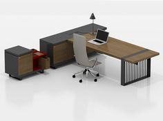 CORNITH   Mesa de escritório executiva Mesa de escritório executiva com prateleiras by tuna-ofis