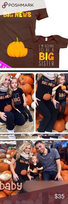 Pregnancy announcement Tees! Big sister announce! Announce your spring 2018 bundle with an adorable fall photo shoot! I used these last year and loved how they turned out! T-shirt fits a toddler my daughter was around 28lbs. And the adult women's t shirt is very fitted so luckily I wasn't too pregnant! Lol and congratulations! 🎊 👶 🍼 Tops Tees - Short Sleeve