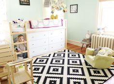 N's Bright Minty Abode - includes link for dresser that will fit under the lofted bed