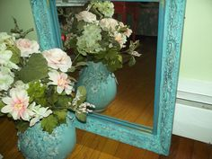 Fabulous large gilded French Country,  Hollywood Regency, aqua distressed  Baroque wood frame MIRROR. $120.00, via Etsy.