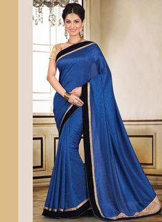 Blue Pashmina Saree