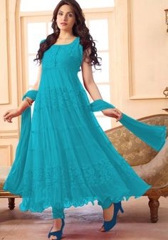 Women s Clothing - Ethnic Wear Net Sky Blue Anarkali Suit - - Enter with your desired ethnic look at this weekend get together.Salwaar Suits - Ethnic Wear Net Sky Blue Anarkali Suit - - Enter with your desired ethnic look at this Designer Suits Online, Designer Salwar Suits, Designer Anarkali, Designer Dresses, Latest Anarkali Suits, Latest Salwar Suit Designs, Simple Anarkali Suits, Indian Dresses, Indian Outfits