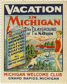 Vacation in Michigan stamp - c. 1935