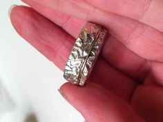 Men's jewelry - the new wedding ring I cast for my husband. Sterling silver and 14k rose gold wire soldered in place.