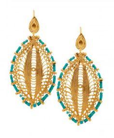 Turquoise Filagree Earrings