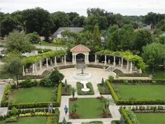 A Botanic Garden set in a neo-classical architectural environment complete with patterned flower beds, public art and ornamental fountains.