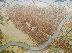 Illustration de Jean Claude Golvin représentant la cité antique de Mediolanum Santonum (Saintes), capitale de l'Aquitania - Ier siècle de notre ère