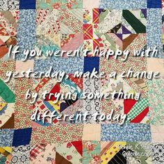 Sometimes, if something isn't working all we need to do is change our approach. Vintage string quilt found in Chandler, Arizona. . . #quilt #quilting #patchwork #quiltville #bonniekhunter #vintagequilt #antiquequilt #stringquilt #deepthoughts #wisewords #wordsofwisdom #quiltvillequote #quote #inspiration
