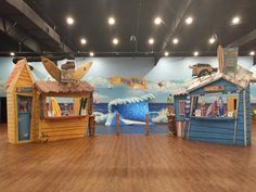 Check out this awesome beach and boardwalk environment at New Walk Church in Zephyrhills. We transformed their registration and check-in areas in to amazing surf shacks. What a great way to bring people into a themed environment. Ocean Themes, Beach Themes, Boardwalk Theme, Beach Cove, Surf Decor, Surf Shack, Kids Church, Kid Spaces, Kids Room