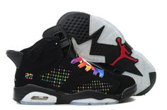 buy online 1ca9f 17724 Buy New Women Air Jordan 6 (VI) Embroidery Black Colourful Basketball Shoes  Shop