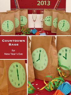 :: zweimalB :: Countdown Bags for a happy New Year´s Eve with children. Party Silvester, Diy Silvester, New Year Diy, Happy New Year, Christmas And New Year, Winter Christmas, New Years Eve 2017, Get The Party Started, Nouvel An