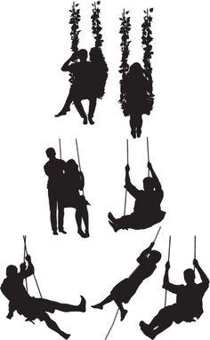 Vectores libres de derechos: Silhouette of people on swing