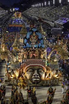 Revelers from the Vila Isabel samba school parade on Feb. 19, the first night of the annual carnival parade in Rio de Janeiro's Sambadrome.