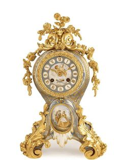 A French porcelain and ormolu mantel clock