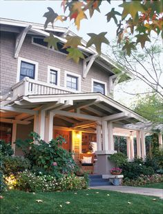 Craftsman style houses are my absolute favorite. The built ins, especially when they surround the fireplace, remind me of my childhood visits to Grandma B's. I love this Craftsman in particular; it has a rustic quality that Hubby would enjoy, but is not overpowering. Another feature of this Craftsman that makes it our dream home is that it has a balcony. We both love (LOVE) balconies!