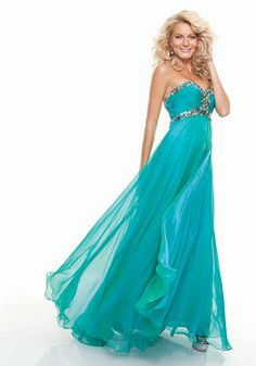 Sweetheart Sheath/ Column Chiffon With Beading Empire Prom Gown - Angeldress.co.uk