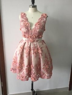 Chic Homecoming Dress Appliques Hand-Made Flower Tulle Short Prom Dress Party Dress JKA001