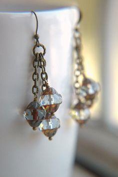 Boho Chandelier Earrings Dangle Pale Blue Grey Lantern Czech Glass  - The Chateau.