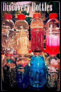 LOTS of Discovery Bottle Ideas==liquid and dry content discovery bottles were a huge hit for more than twenty years in my home preschool/daycare. Hint: superglue the lids! Most eventually try to open the bottle.