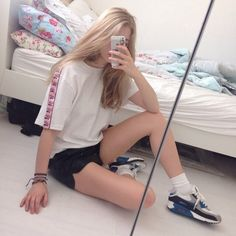 """girls within girls"" Colorful Fashion, Asian Fashion, Girl Fashion, Ash Blonde Hair, Korean Aesthetic, Hair Color And Cut, Sporty Style, Tumblr Girls, Ulzzang Girl"