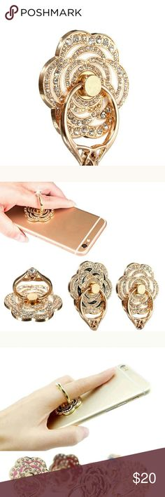 White Flower universal ring phone Holder Rhinestone embellished phone stand /holder Other