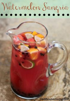 Watermelon Sangria: 6-9 c cubed watermelon (depending on how strong you want the flavor) blended til smooth, then strained; add... 1 bottle Moscato, 1 c vodka, 1/2 c triple sec; stir to combine; garnish with 1-3 c cubed watermelon, 1 c blueberries, 1 orange but in wedges, 1 lime quartered; chill and enjoy!