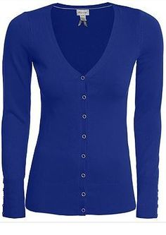 Cobalt blue long sleeve fitted cardigan.