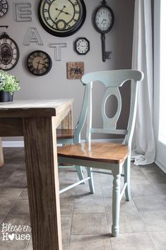 Distressed Anne Sloan Chalk Paint ---  Duck Egg color. Then Minwax Paste Finishing Wax over that.  Lovely.   Dining Chairs Makeover - Bless'er House
