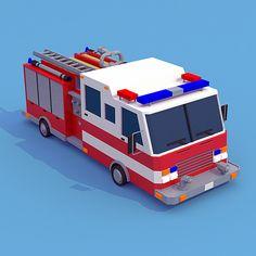fire truck low poly - Szukaj w Google